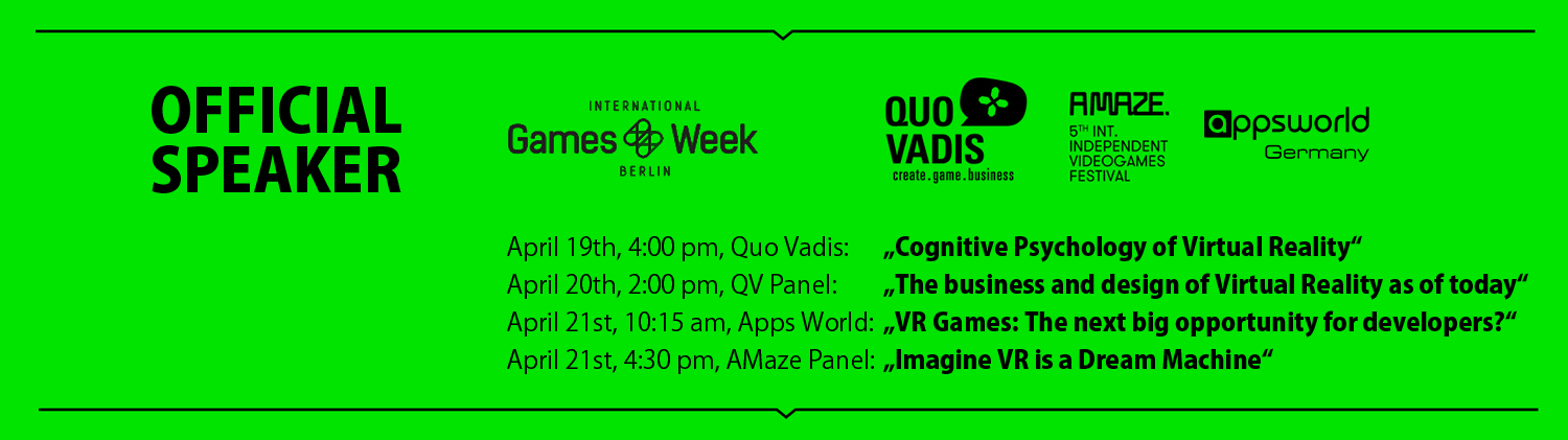 Speaker at Games Week Berlin 2016, Quo Vadis, A Maze Festival and Apps World Germany